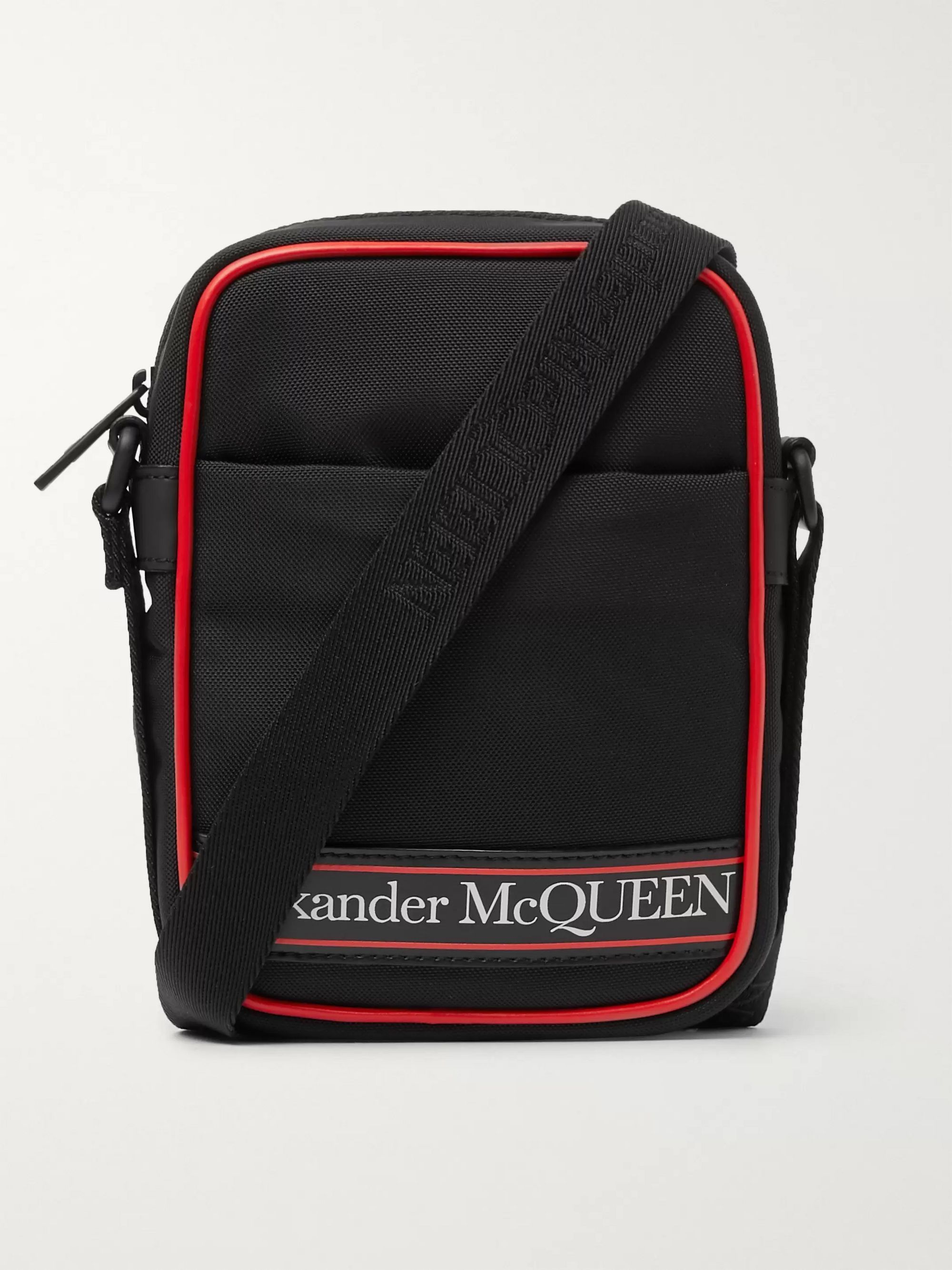 Alexander McQueen Logo-Print Leather-Trimmed Canvas Messenger Bag