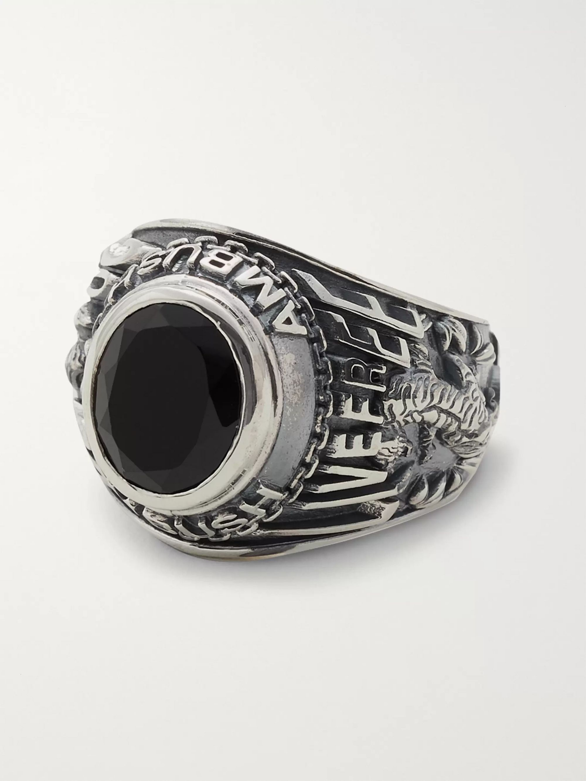 AMBUSH® Engraved Silver-Tone and Stone Ring
