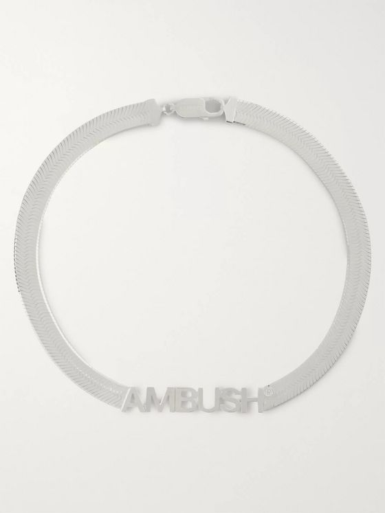 AMBUSH® Logo-Engraved Sterling Silver Necklace