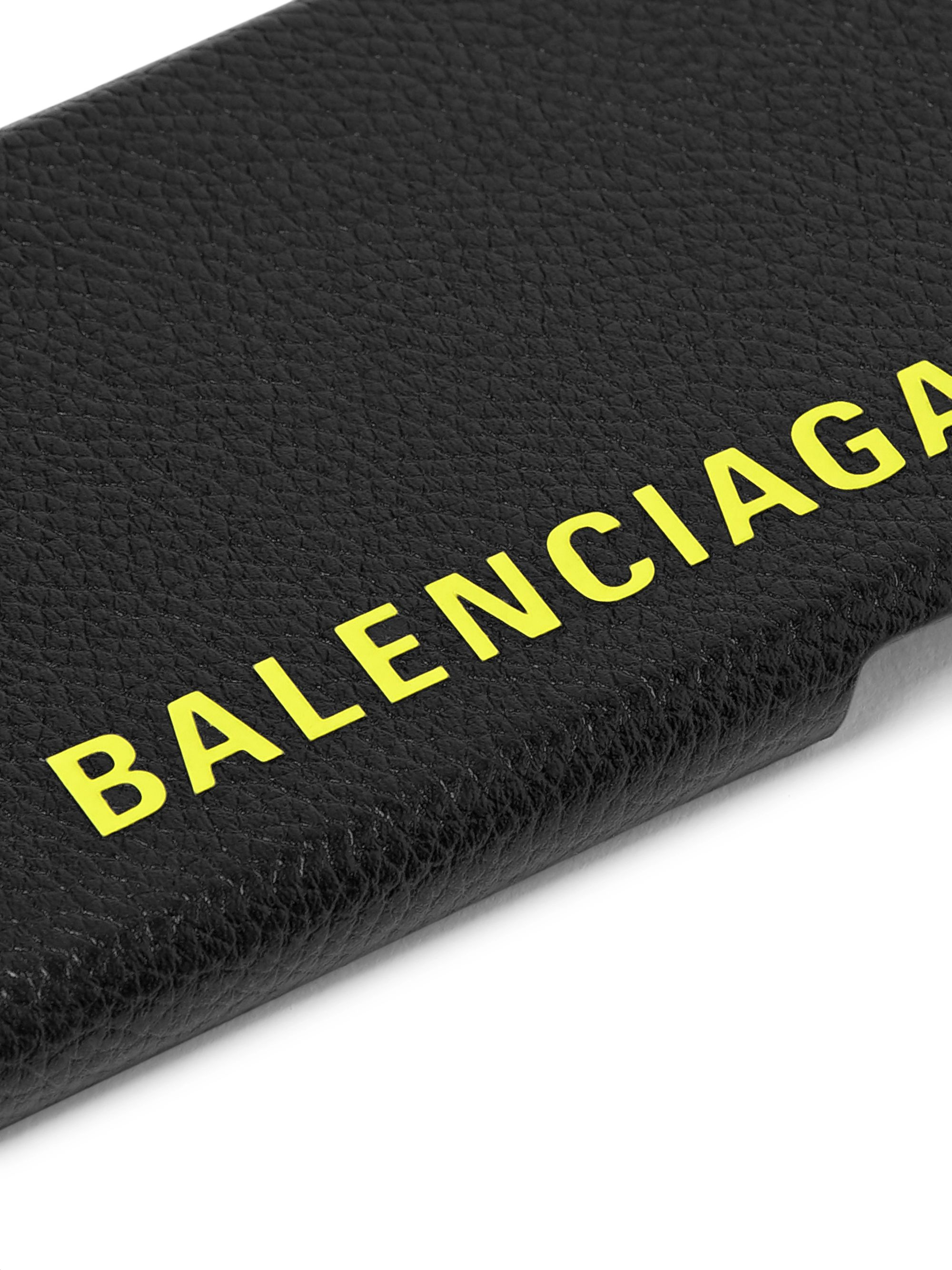 Balenciaga Logo-Print Full-Grain Leather iPhone X Case