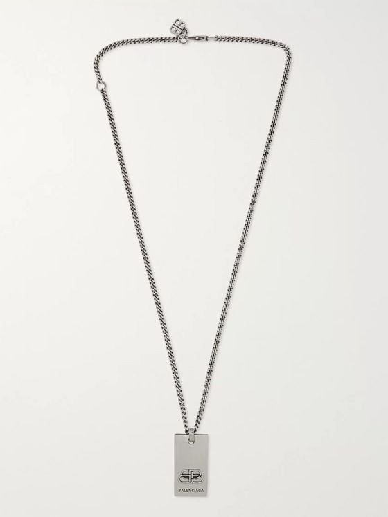 Balenciaga Logo-Detailed Silver-Tone Necklace