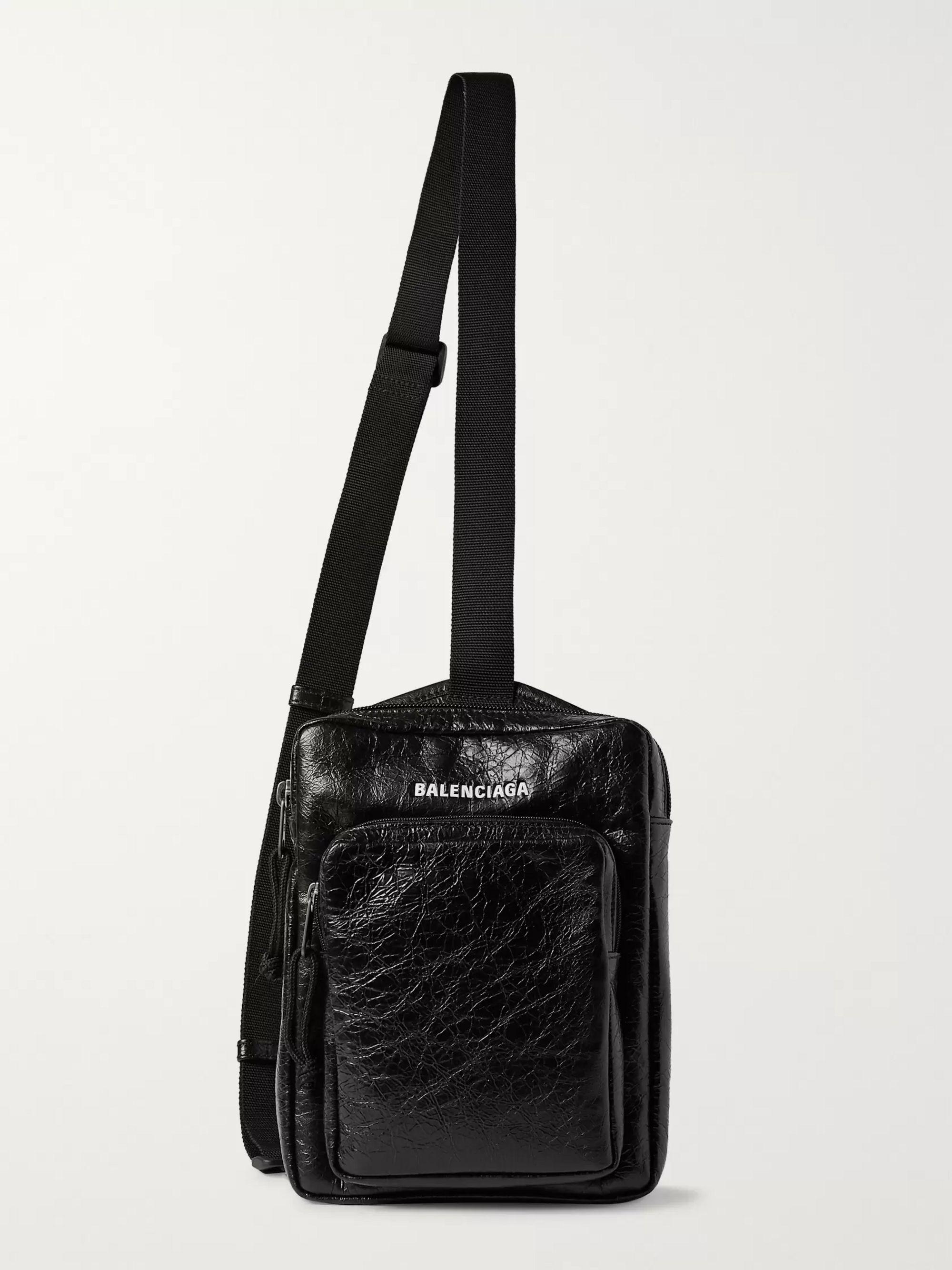 발렌시아가 Balenciaga Arena Logo-Print Creased-Leather Messenger Bag,Black
