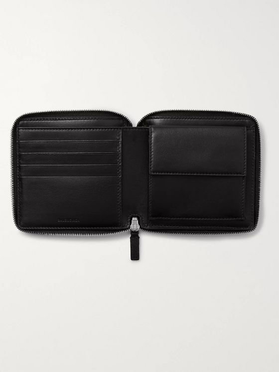 Balenciaga Logo-Print Leather Zip-Around Wallet