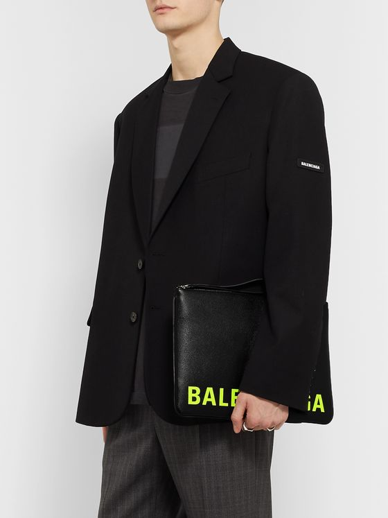 Balenciaga Logo-Print Full-Grain Leather Pouch