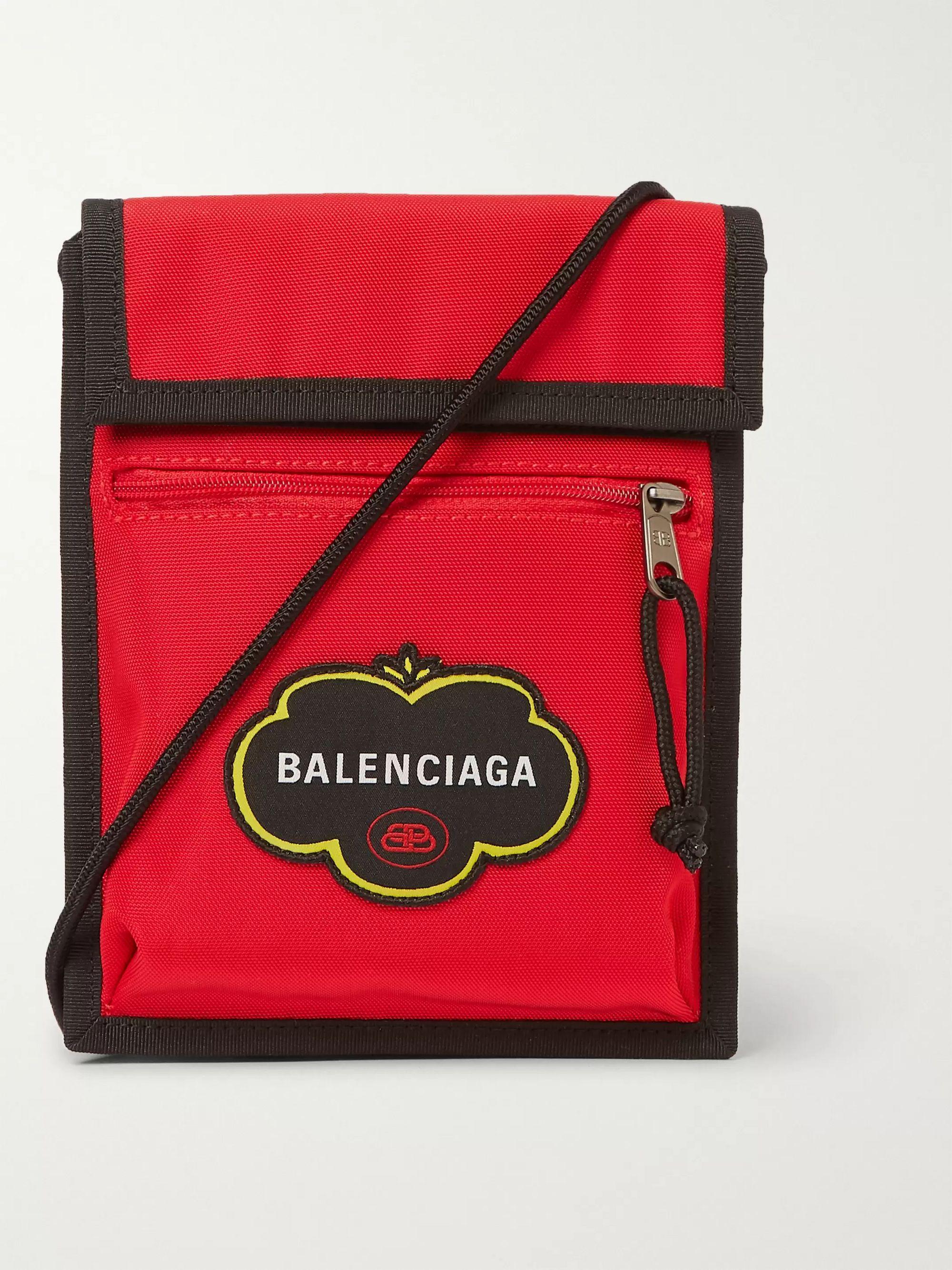 발렌시아가 Balenciaga Explorer Logo-Appliqued Canvas Messenger Bag,Red