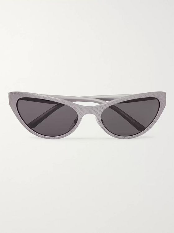 BALENCIAGA Oval-Frame Logo-Detailed Acetate Sunglasses