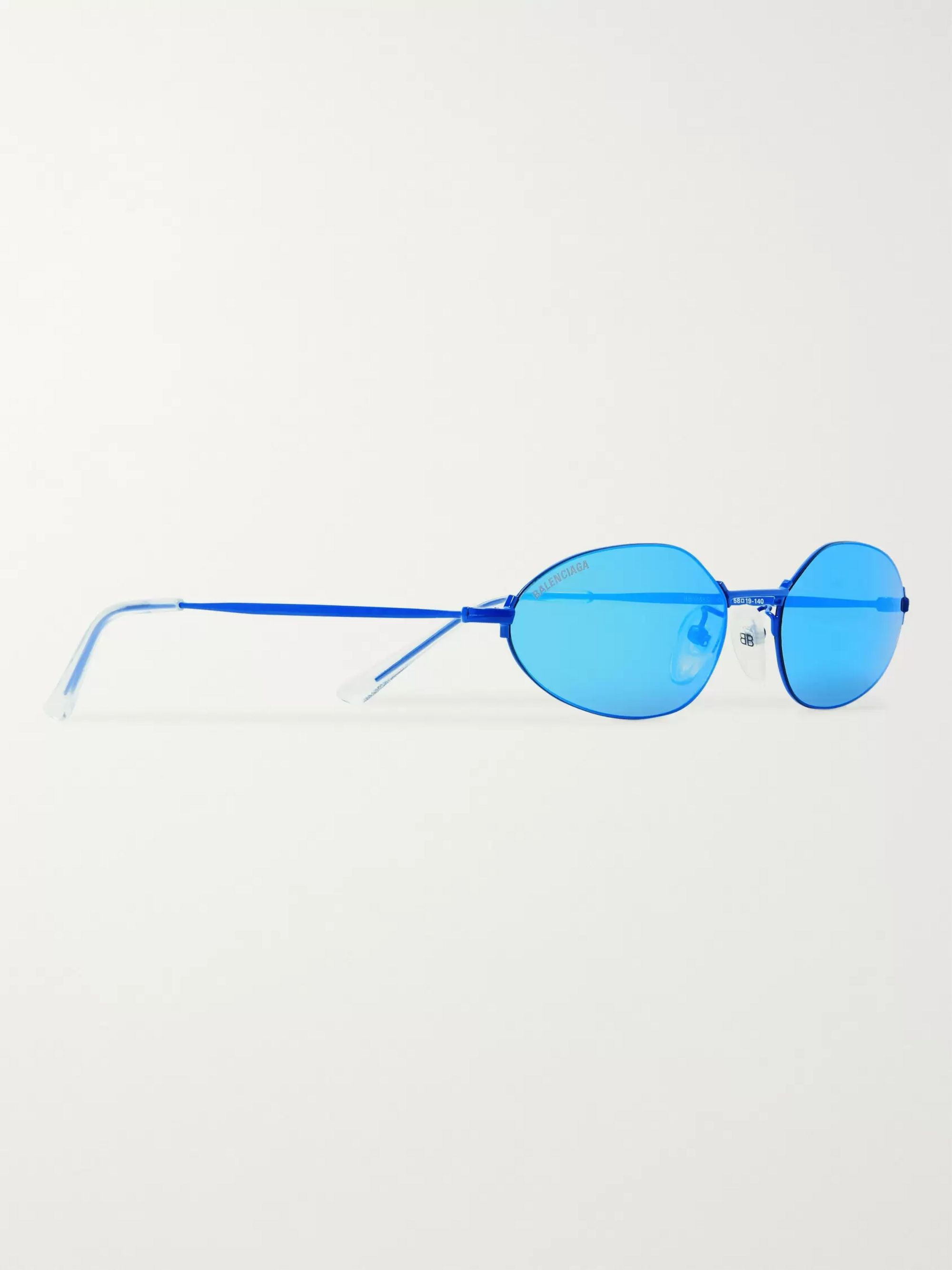 Balenciaga Oval-Frame Metal Mirrored Sunglasses