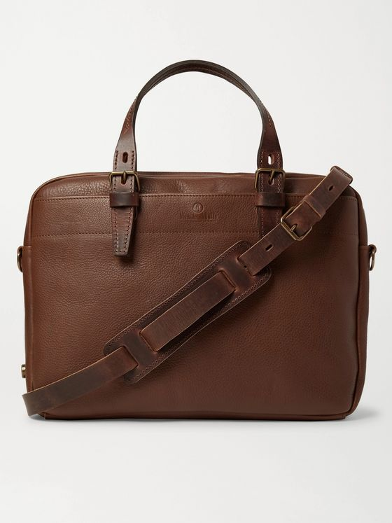 BLEU DE CHAUFFE Folder Vegetable-Tanned Textured-Leather Messenger Bag
