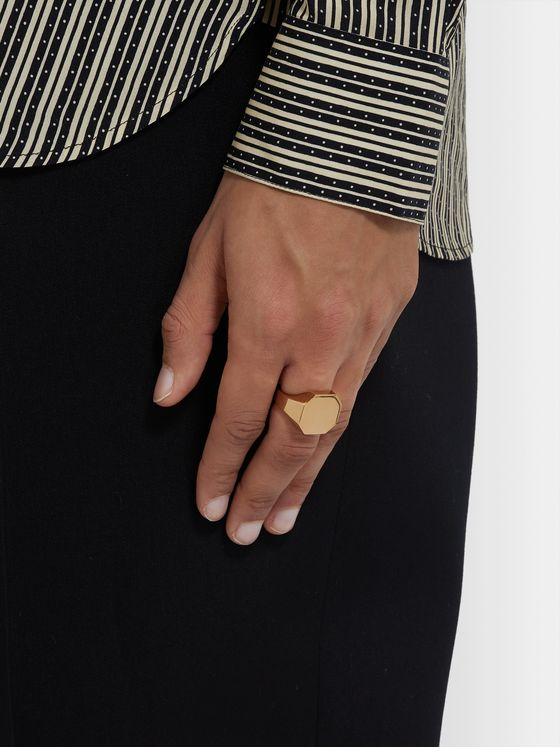 BOTTEGA VENETA Gold-Plated Signet Ring