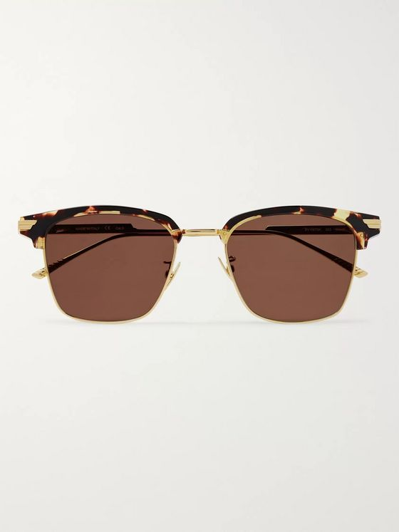 Bottega Veneta D-Frame Gold-Tone and Tortoiseshell Acetate Sunglasses