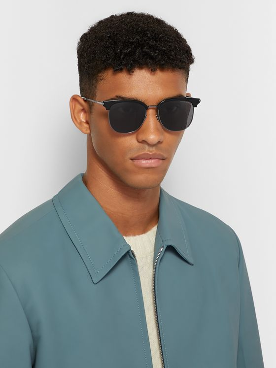 Bottega Veneta D-Frame Acetate and Silver-Tone Sunglasses
