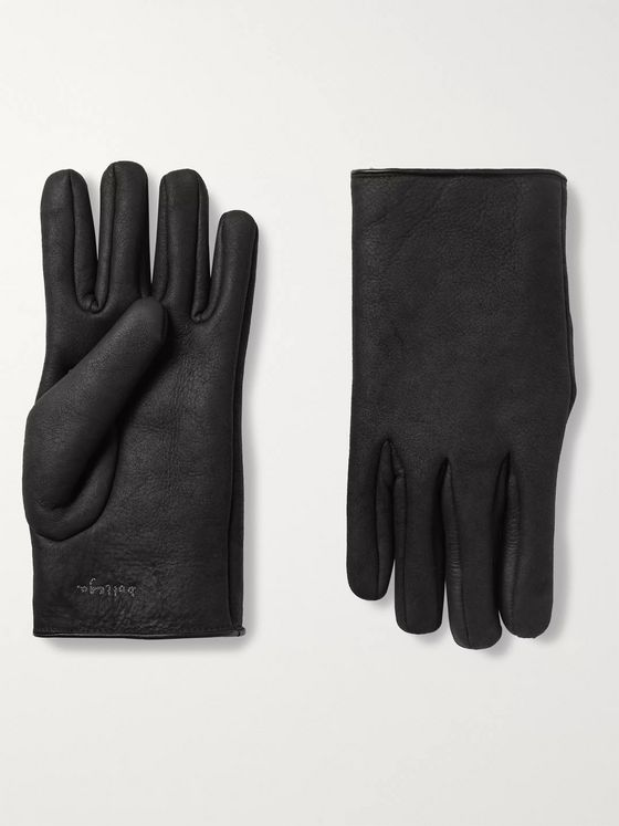 Bottega Veneta Logo-Embroidered Shearling Gloves