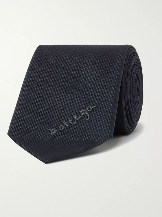 Bottega Veneta 5.5cm Embroidered Textured-Silk Tie