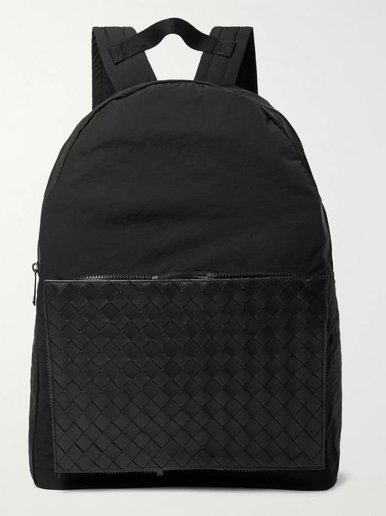 Bottega Veneta Nylon and Intrecciato Leather Backpack