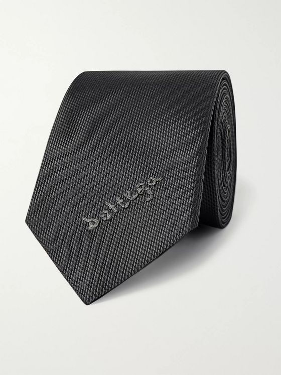 Bottega Veneta 5.5cm Logo-Embroidered Textured-Silk Tie
