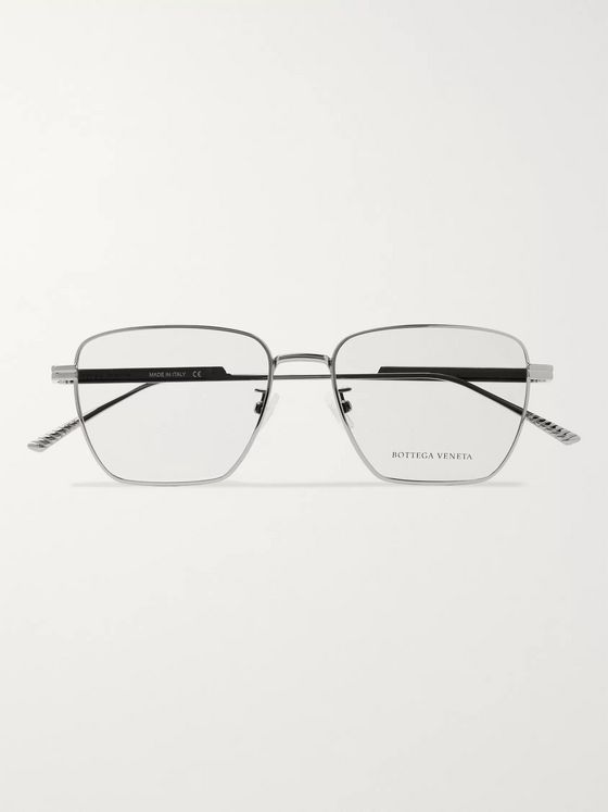 Bottega Veneta Square-Frame Silver-Tone Optical Glasses