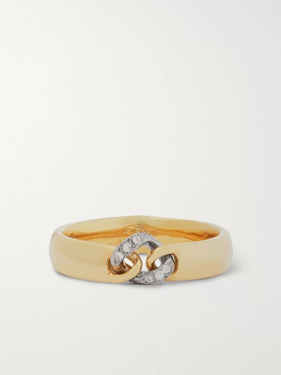 Bunney 18-Karat Yellow and White Gold Diamond Ring