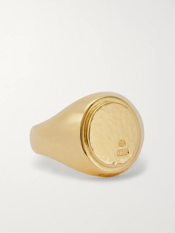 Bunney Hammered 18-Karat Gold Signet Ring