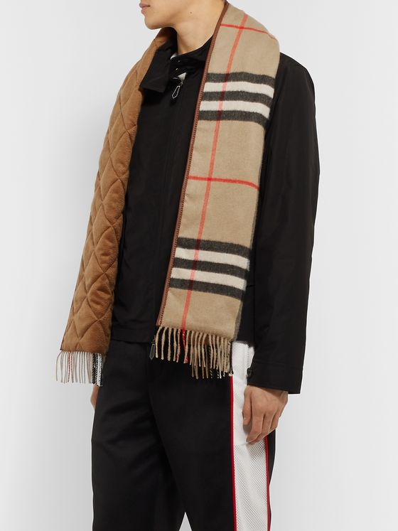 Burberry Reversible Leather-Trimmed Quilted Fringed Checked Cashmere Scarf
