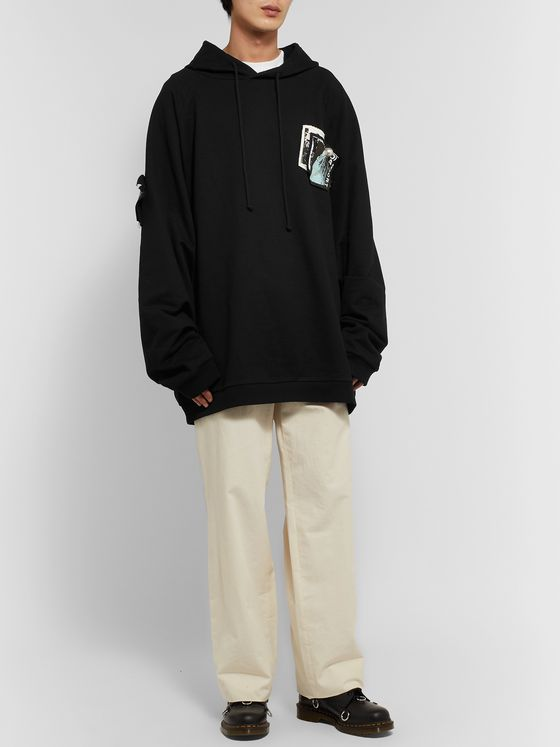 Raf Simons Oversized Appliquéd Printed Cotton-Jersey Hoodie