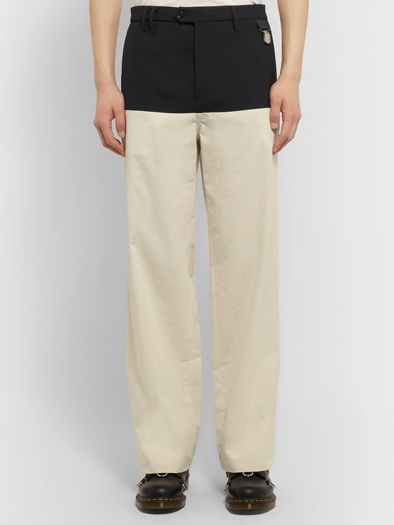 Raf Simons Wool Twill-Panelled Cotton Trousers