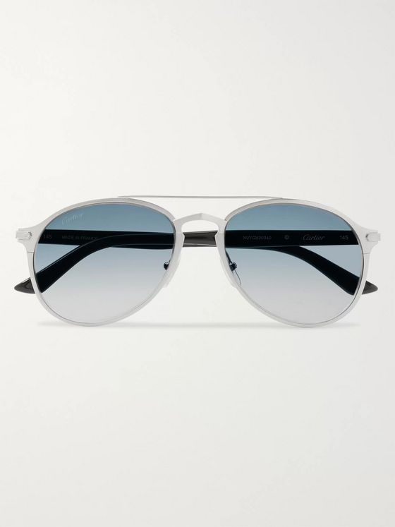 Cartier Eyewear Aviator-Style Brushed Silver-Tone and Acetate Sunglasses
