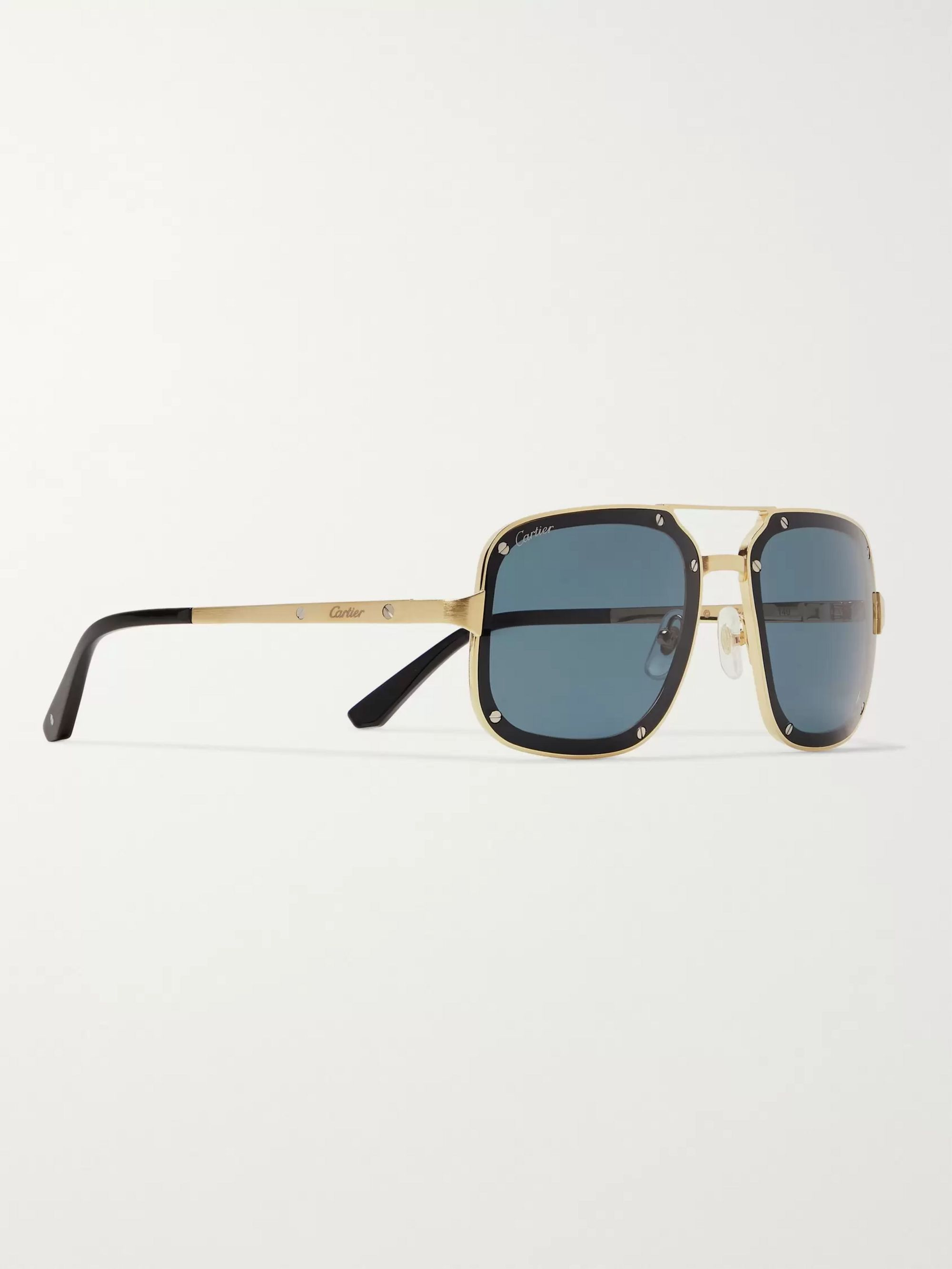 Cartier Eyewear Aviator-Style Gold-Tone and Acetate Sunglasses