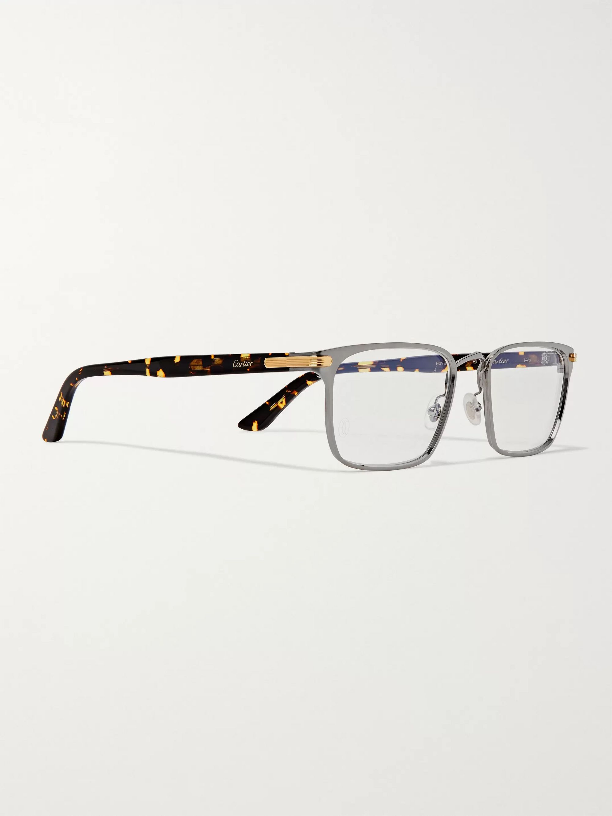 Cartier Eyewear Square-Frame Tortoiseshell Acetate and Silver-Tone Optical Glasses
