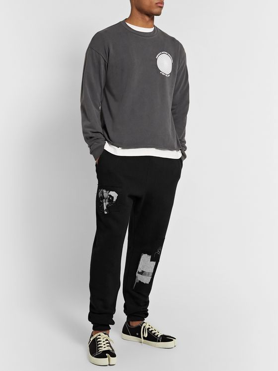 Enfants Riches Déprimés Slim-Fit Tapered Appliquéd Fleece-Back Cotton-Jersey Sweatpants
