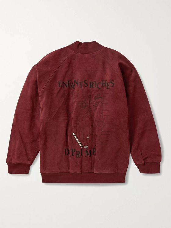 Enfants Riches Déprimés Embroidered Suede Bomber Jacket