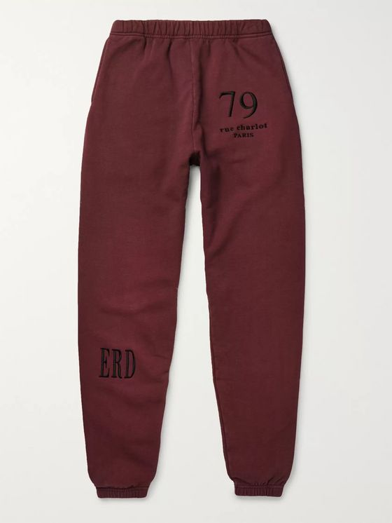 Enfants Riches Déprimés Tapered Embroidered Fleece-Back Cotton-Jersey Sweatpants