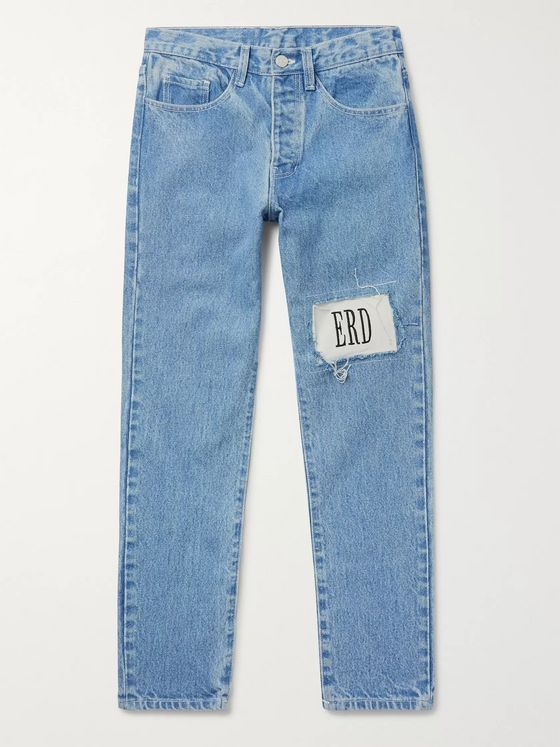 Enfants Riches Déprimés Skinny-Fit Embroidered Distressed Denim Jeans