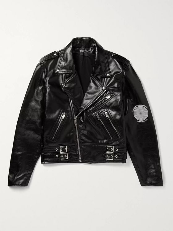Enfants Riches Déprimés Printed Leather Biker Jacket
