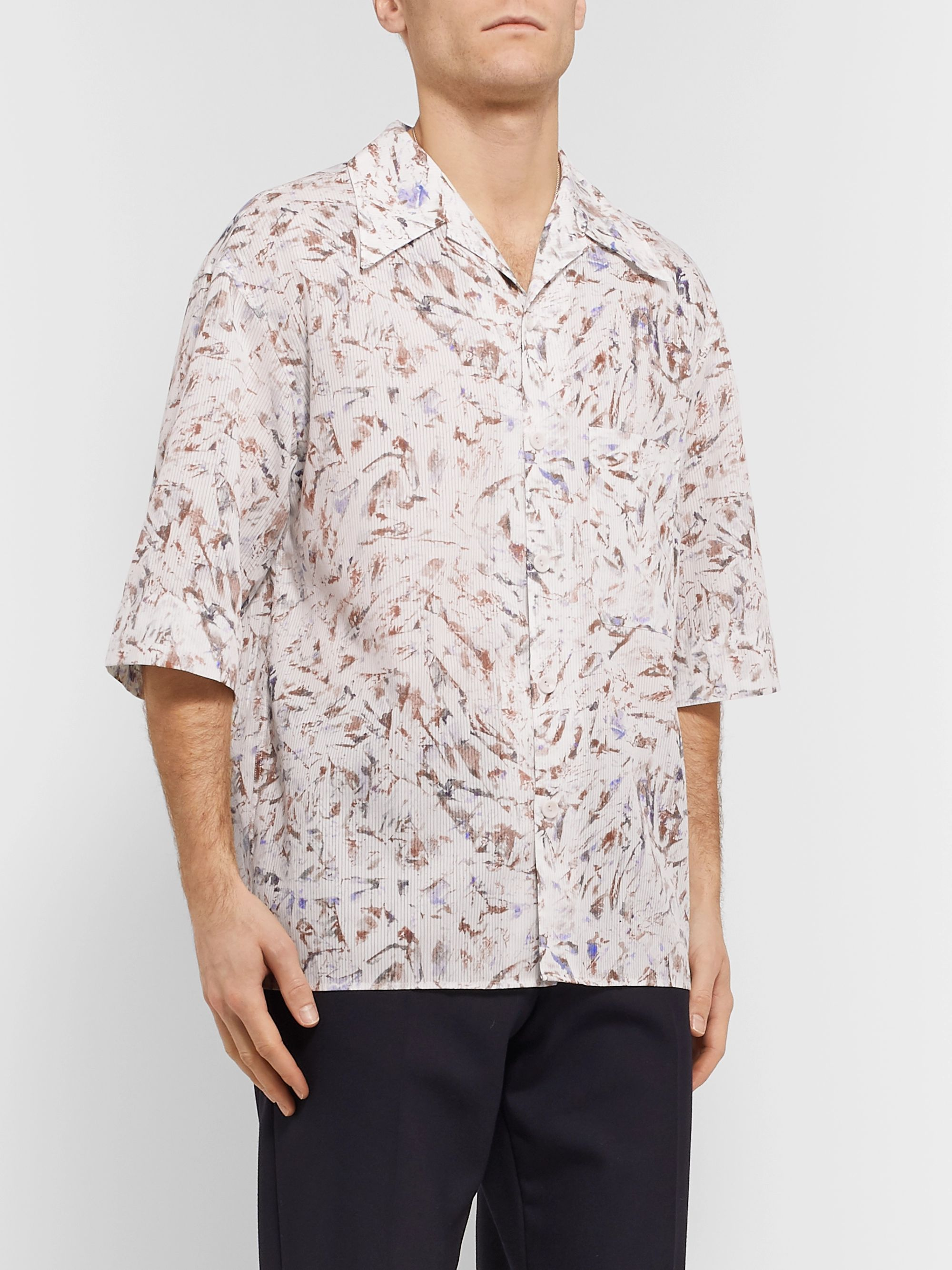 Lemaire Camp-Collar Printed Cotton Shirt