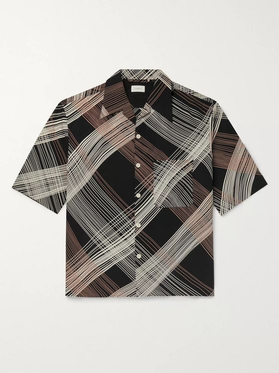 Lemaire Camp-Collar Printed Cotton-Blend Shirt
