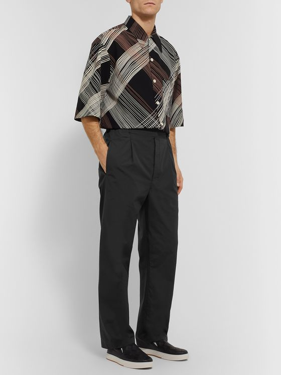Lemaire Tapered Pleated Cotton Trousers