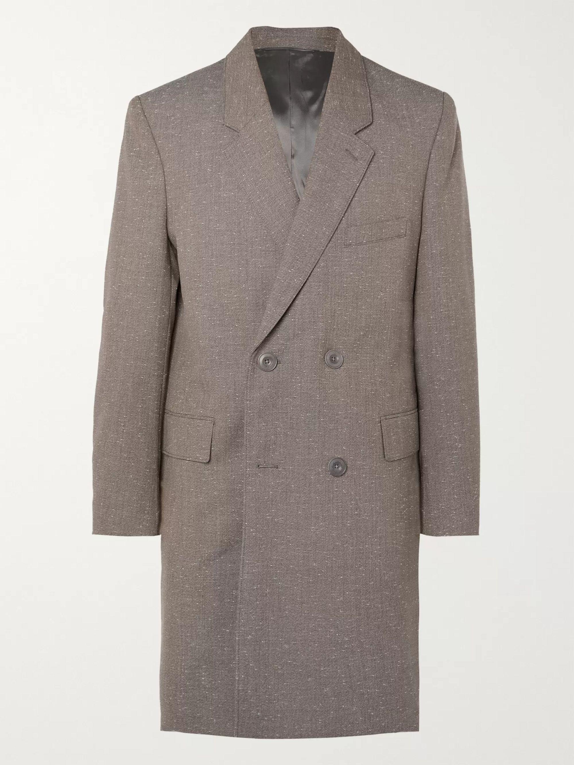 르메르 Lemaire Gray Melange Virgin Wool-Blend Double-Breasted Overcoat,Gray