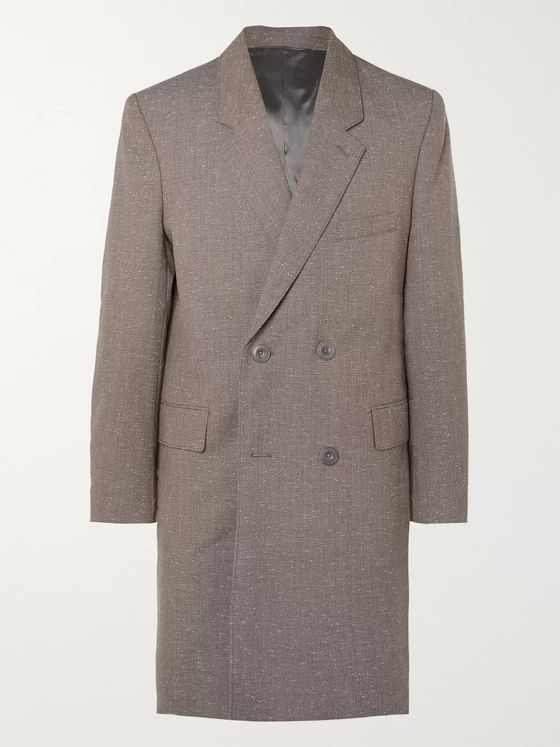 LEMAIRE Mélange Virgin Wool-Blend Double-Breasted Overcoat