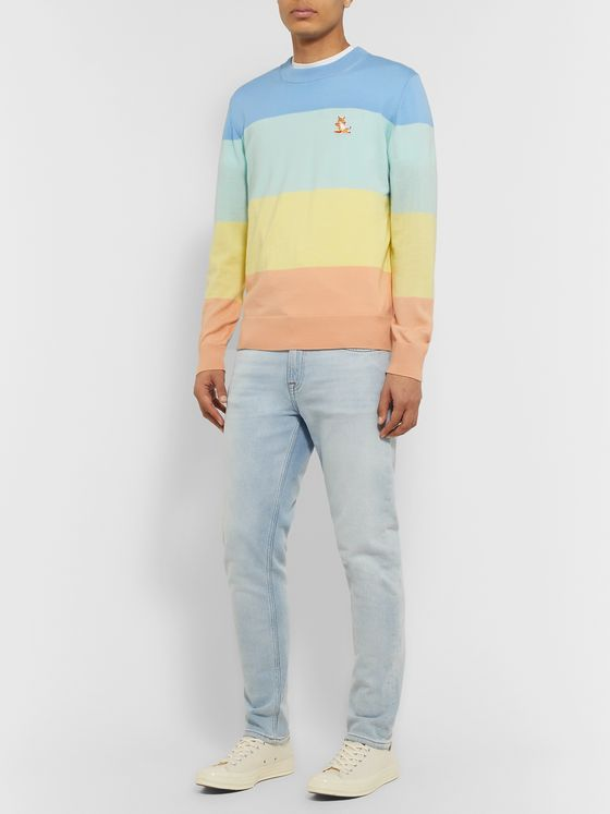 Maison Kitsuné Logo-Appliquéd Striped Merino Wool Sweater