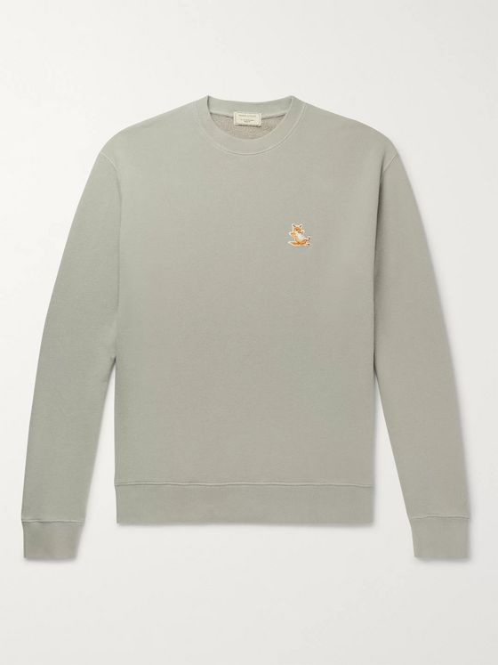 Maison Kitsuné Logo-Appliquéd Loopback Cotton and Wool-Blend Jersey Sweatshirt