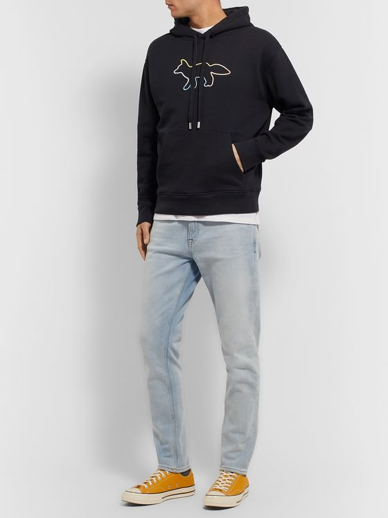 Maison Kitsuné Logo-Embroidered Loopback Cotton-Jersey Hoodie