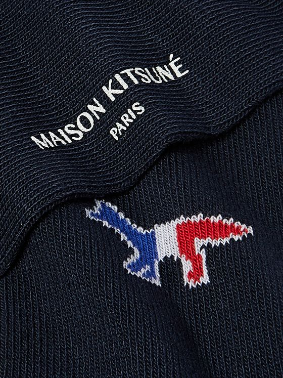 Maison Kitsuné Logo-Jacquard Cotton-Blend Socks