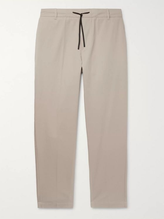 Maison Kitsuné City Tapered Cropped Cotton-Twill Drawstring Trousers
