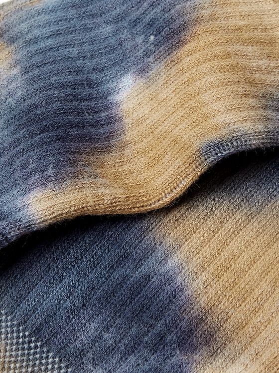 N/A Tie-Dyed Ribbed Cotton-Blend Socks