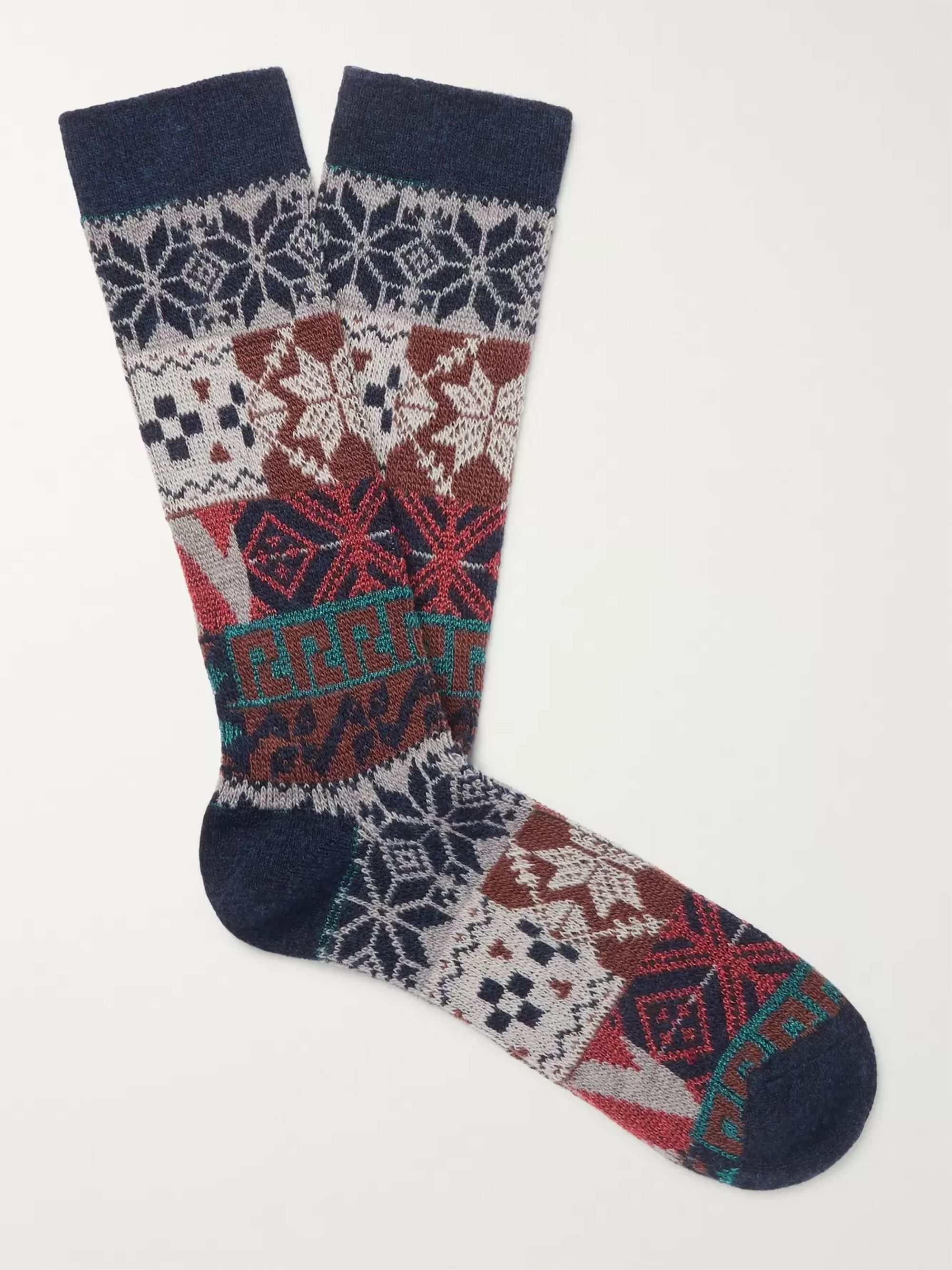 Anonymous Ism Intarsia Stretch-Knit Socks