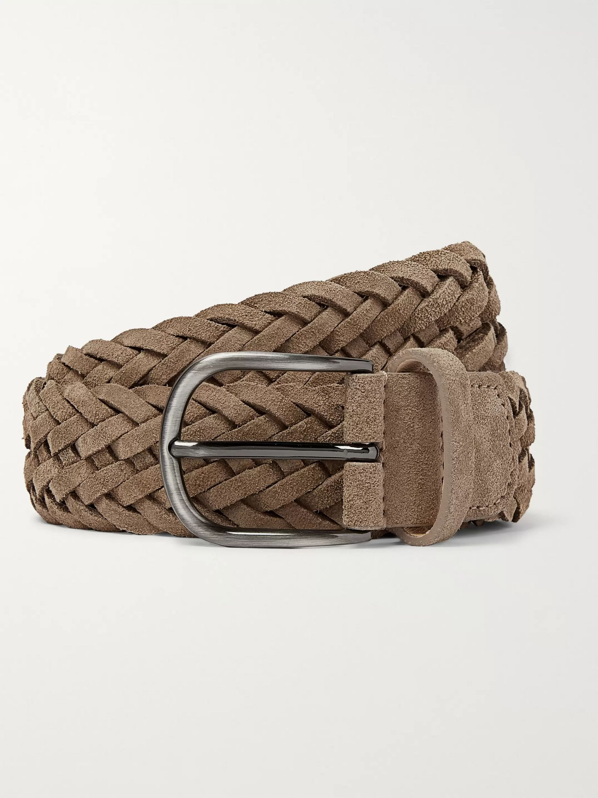 Anderson's 3.5cm Camel Woven Suede Belt