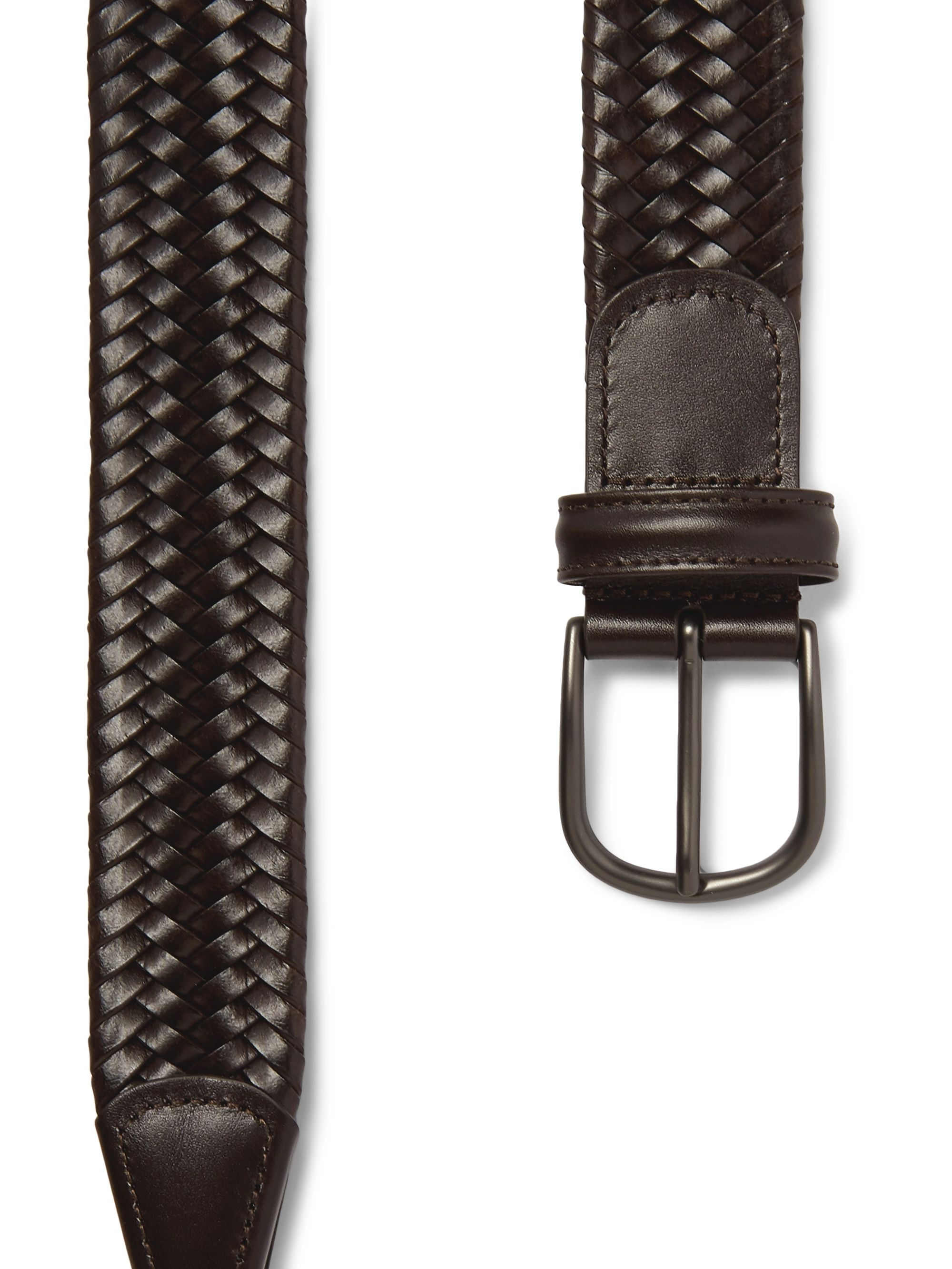 Anderson's 3.5cm Dark-Brown Woven Leather Belt