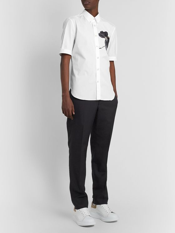 Alexander McQueen Button-Down Collar Embroidered Cotton-Poplin Shirt