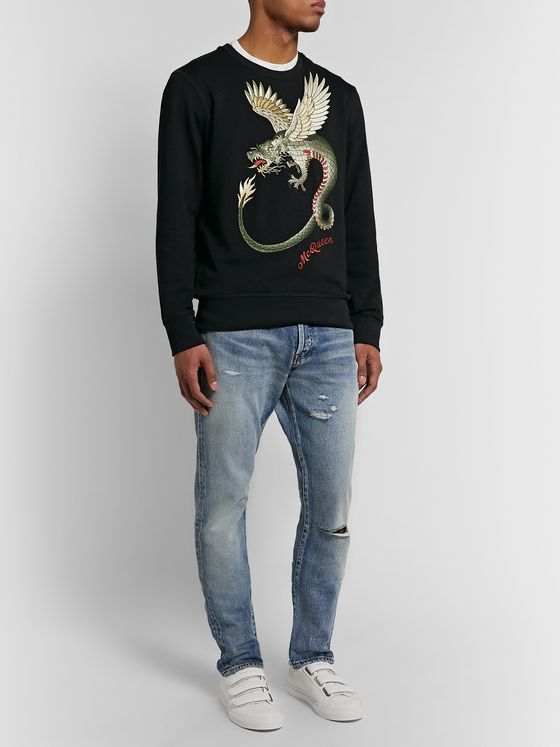Alexander McQueen Embroidered Loopback Cotton-Jersey Sweatshirt