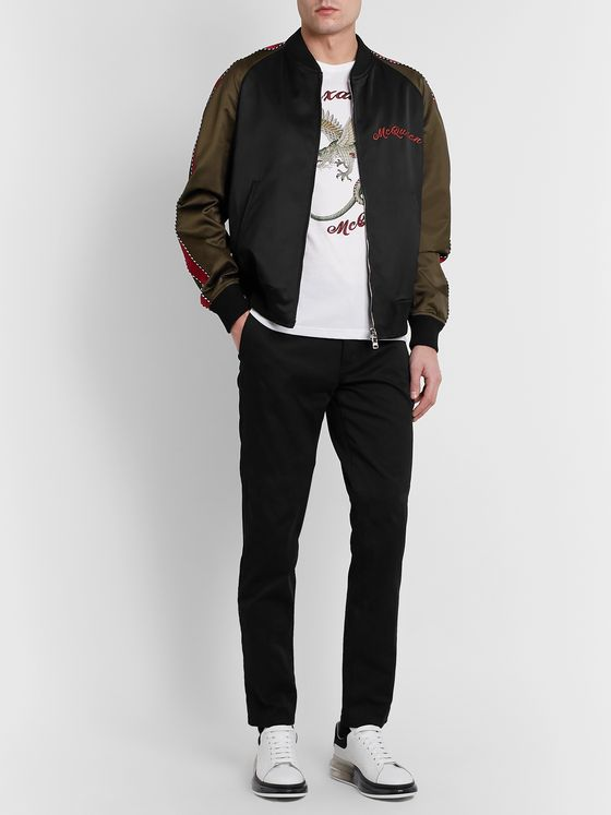 Alexander McQueen Slim-Fit Logo-Embroidered Colour-Block Cotton-Blend Satin Bomber Jacket